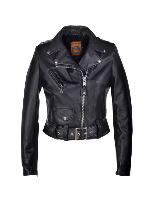 Women's Cropped Perfecto Black Lambskin Leather Jacket